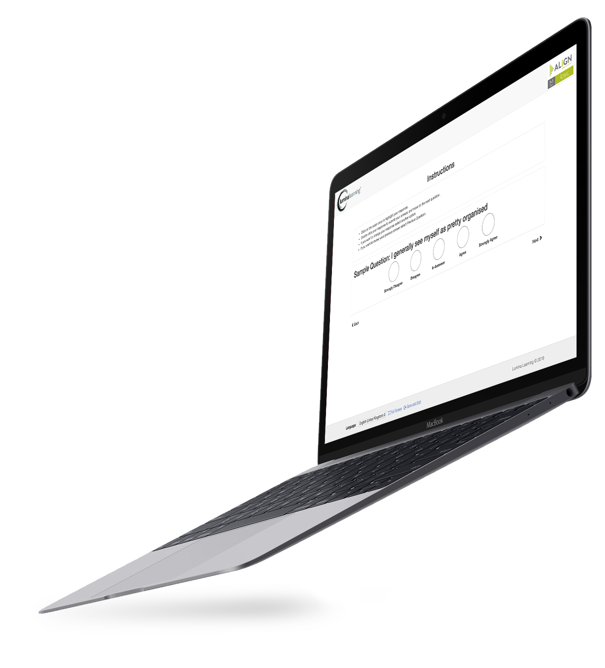 Laptop with ALiGN's personality assessment displayed